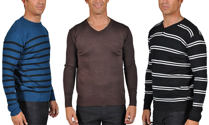 Men's Striped and Solid Sweaters