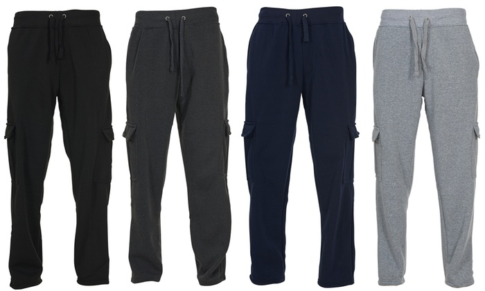 los angeles 97f0c 8e5be Chams Men s Fleece Cargo Pocket Sweatpants (M-5XL)