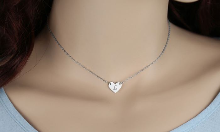 Custom engraved initial heart pendant groupon custom engraved initial heart pendant mozeypictures Gallery