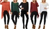 Lyss Loo Drift Away Draped Tunic Top with free Fleece Leggings: Lyss Loo Drift Away Draped Tunic Top with free Fleece Leggings
