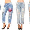 Women's Destroyed Ripped Casual Boyfriend Jeans