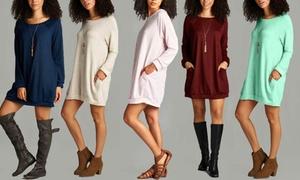 Women's Long-Sleeved Sweatshirt Dress with Pockets