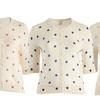 Junior's Plus Size Polka Dots Lightweight Cardigan Sweater