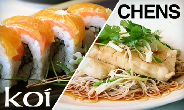 Chens or Koi - Multiple Locations: $15 for $30 Worth of Sushi, Chinese Cuisine, and Drinks at Either Chens in Wrigleyville or Koi in Downtown Evanston