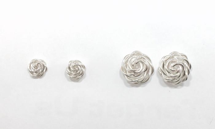 Handmade Sterling Silver Rose Shaped Stud Earrings