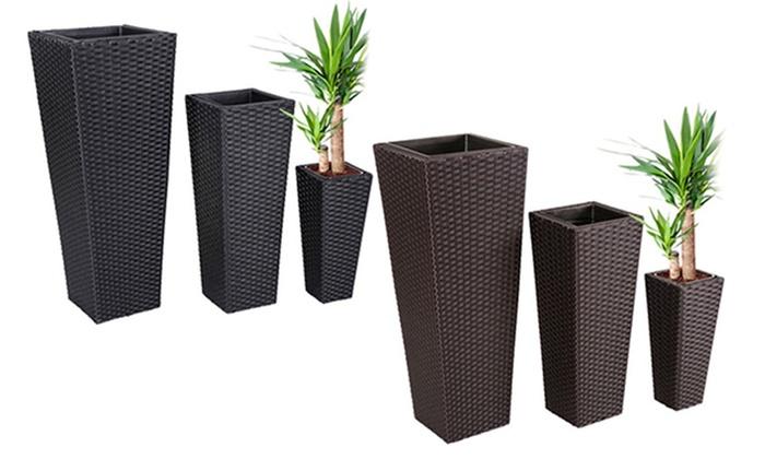 Set di 3 vasi per fiori groupon goods for Vasi in rattan