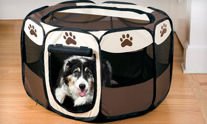 Portable Pet Playpens: Large or Small Portable Pet Playpen (Up to 77% Off)