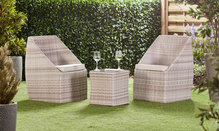 Three-Piece Stacking Rattan-Effect Bistro Set