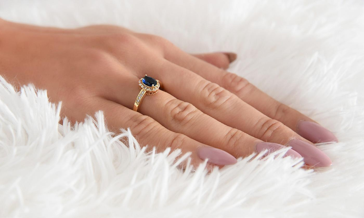 Ah! Jewellery Simulated Sapphire Ring with Crystals from Swarovski®