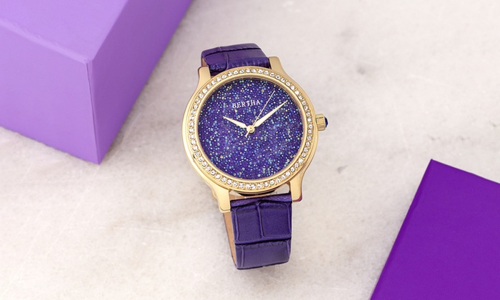Bertha Cora Crystal Encrusted Leather Watch Bertha Cora Crystal Encrusted  Leather Watch ... 4efbdafa3d