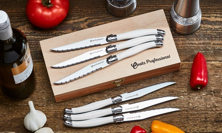 Six or TwelvePiece Cooks Professional LaguioleStyle Steak Knife Set in Choice of Colour