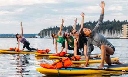 Three Standup-Paddleboard-Yoga Classes for One or Two at WASUP Yoga (Up to 52% Off)