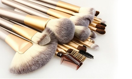 1 ou 2 sets de 12 ou 24 pinceaux champagne de maquillage professionnel