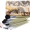 Professional Makeup Brush Set with World-Map Pouch (19-Piece)