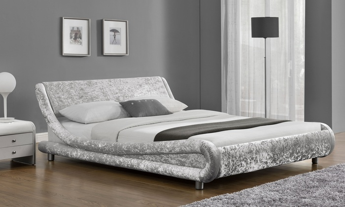 Double or King Velvet Fabric Bed Frame with Optional Mattress