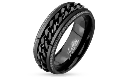 Black Twisted Comfort Ring in Stainless Steel
