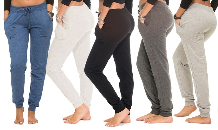 Coco Limon Women's Jogger Pants in Standard or Plus Sizes (5-Pack)