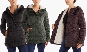 Steve Madden Women's Sherpa-Lined Glacier Shield Quilted Jacket at Steve Madden Women's Sherpa-Lined Glacier Shield Quilted Jacket. Plus Sizes Available., plus 6.0% Cash Back from Ebates.