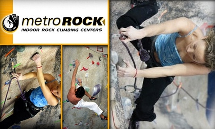 MetroRock Indoor Climbing - Multiple Locations: $49 for One-Month Membership and One Beginners Class at  MetroRock Indoor Climbing