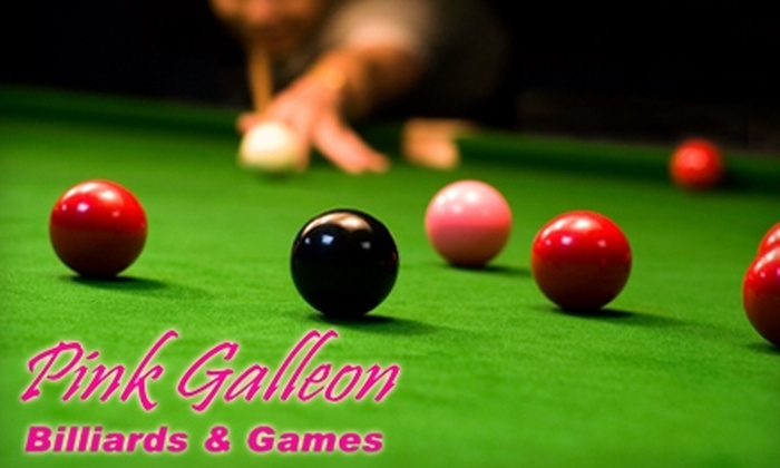 Pink Galleon Billiards & Games - Multiple Locations: $13 for Two Hours of Pool and $20 Worth of Snacks and Drinks at Pink Galleon Billiards & Games ($39 value)