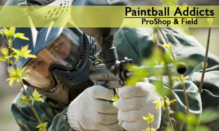 Paintball Addicts - South Salt Lake City: $15 for One Day of Unlimited Games, 300 Paintballs, and Equipment Rental at Paintball Addicts (Up to $30 Value)