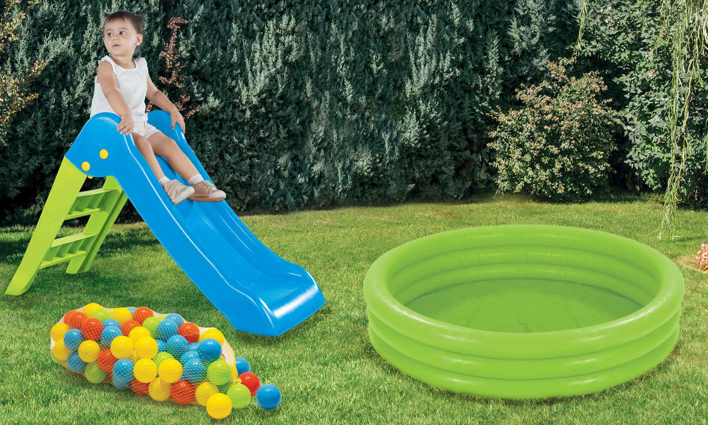 Three-in-One Inflatable Slide and Pool Ball Pit Set