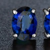2.00 CTTW Sapphire Oval Cut Sterling Silver Studs by Valencia Gems