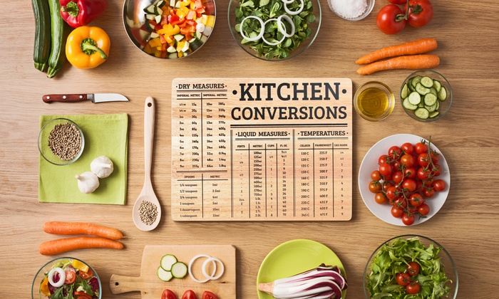 Chef's Kitchen Wood Chopping Board with Measurement Conversions