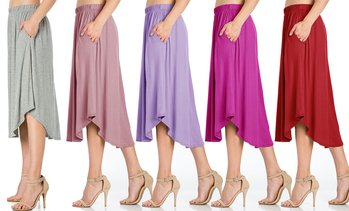 Fashion California Women's Solid High-Waist Shirring Midi Skirt