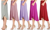 Fashion California Women's High-Waist Shirring Midi Skirt w/Pockets. Plus Sizes Available. Multiple Options Available.