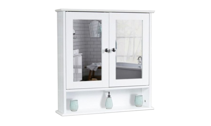 double bathroom wall cabinet with mirror