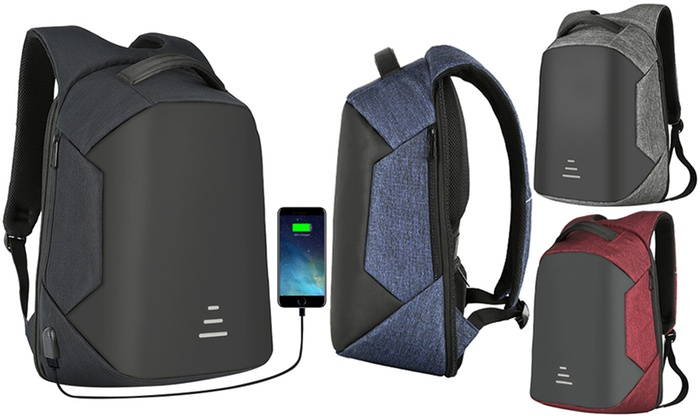 Groupon Goods Global GmbH: Anti-Theft Backpack with Option to Include Charging Cable and 8400mAh USB Power Bank