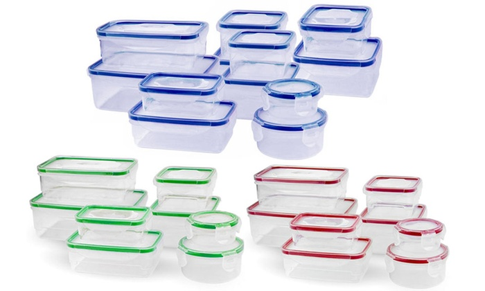 Food Storage Containers and Airtight Locking Lids Set (16- or 24-Pc.): Food Storage Containers with Airtight Snap-Locking Lids Set (16- or 24-Piece)