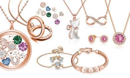 Roségoudkleurige sieraden, versierd met kristallen van Swarovski ®, model naar keuze, vanaf € 9,99 incl. verzending