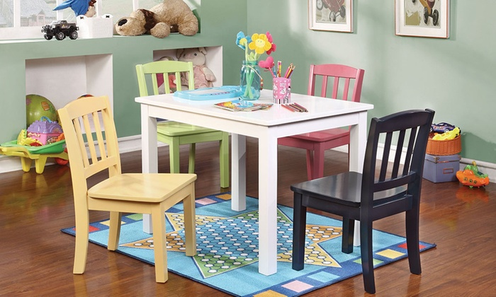 Transitional Youth Table and Chairs Set (5-Piece) ... & Youth Table and Chairs (5-Pc.) | Groupon Goods