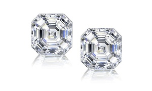 Asscher Cut Cubic Zirconia Stud Earrings in Sterling Silver