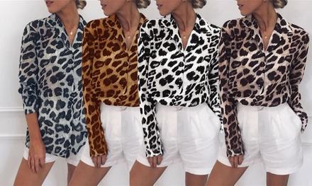 Leopard V-Neck Blouse