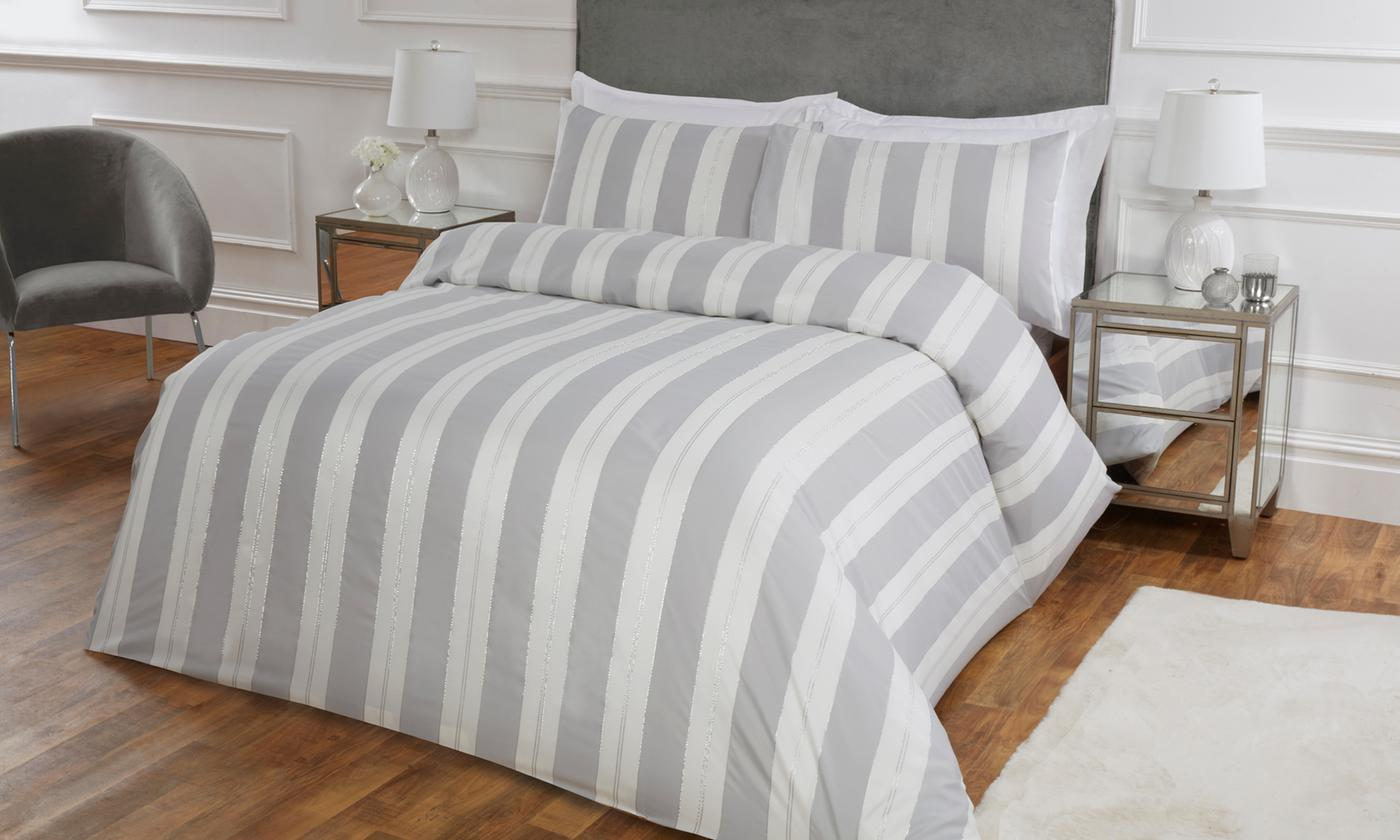 Pieridae Lurex Stripe Jacquard Duvet Set for £15