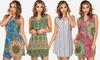 Juniors' V-Neck Printed Tunic Dresses: Juniors' V-Neck Printed Tunic Dresses
