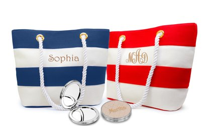 image for Personalized Striped Canvas Totes with Optional Mirror from MonogramHub (Up to 80% Off)