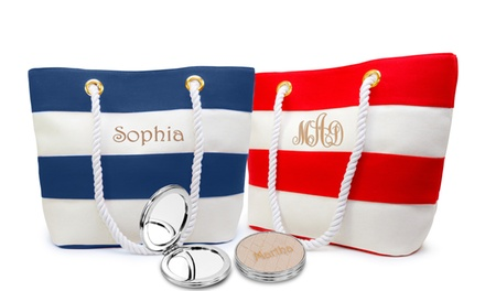 Personalized Striped Canvas Totes with Optional Mirror from MonogramHub (Up to 84% Off)