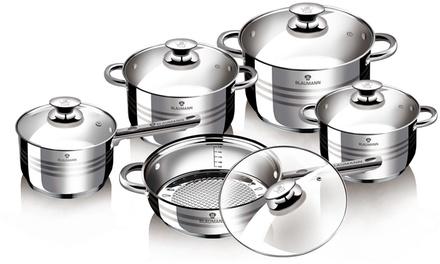 Batterie De Cuisine 13 Pieces En Acier Inoxydable De Blaumann