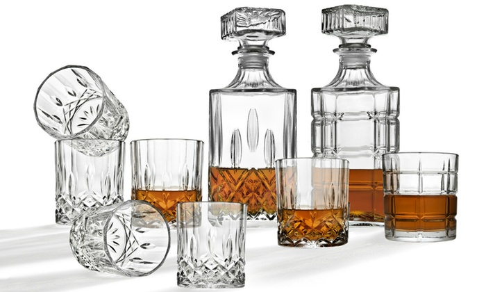 Inger Studio Diamond Whiskey Decanter Sets 5 Or 7 Piece