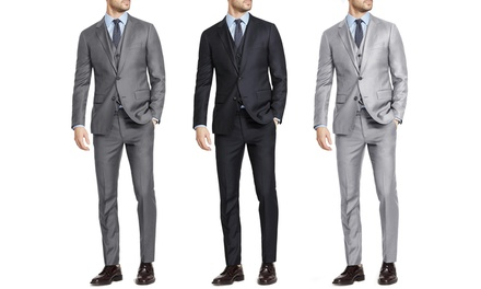 Verno Men's Classic-Fit Wool Suits (3-Piece)