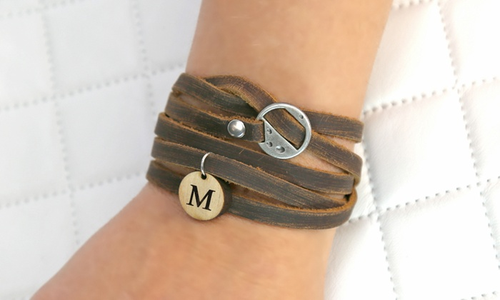 Custom Leather Wrap Bracelet With Wooden Initial From Monogram Online