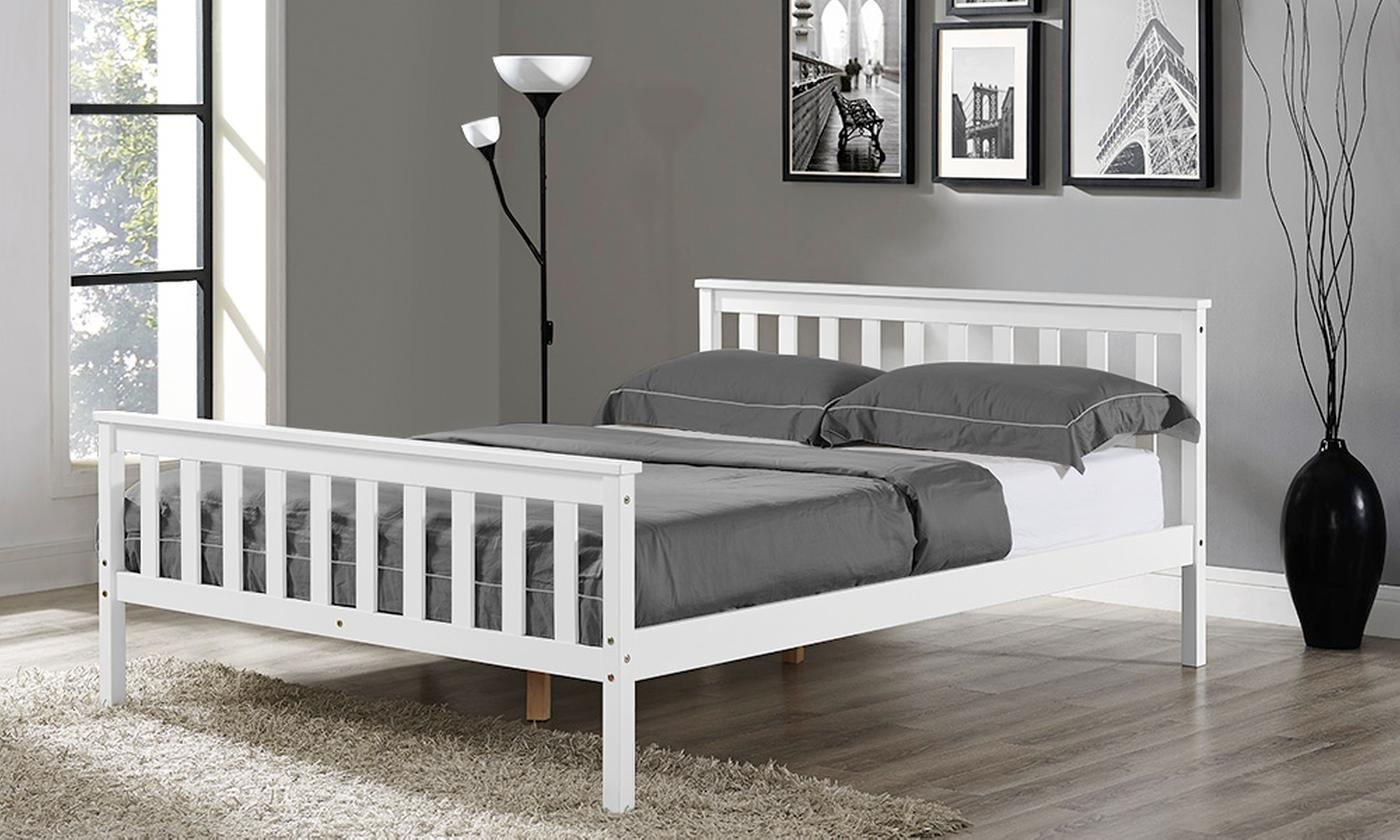 Hampton White Wooden Bed Frame with Optional Mattress (£255)