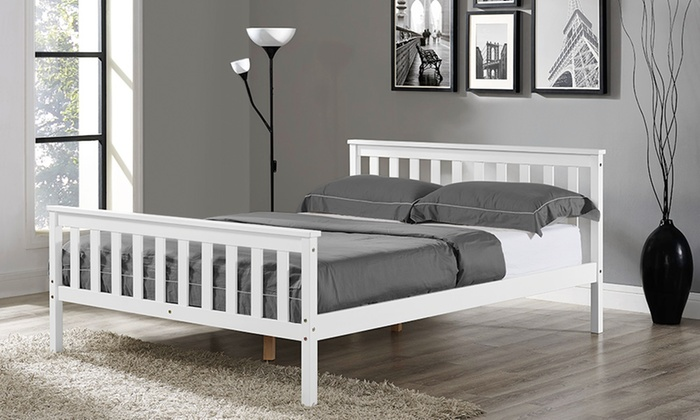 Hampton White Wooden Bed Frame with Optional Mattress