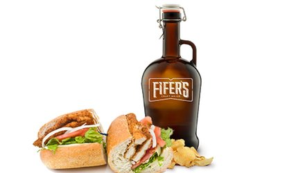 image for Growler To-Go with Optional Craft Seafood Sandwich for One or Two from Fifer's Craft House (Up to 47% Value)