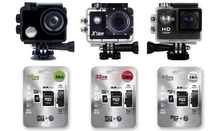 Caméra de sport HD avec accessoires et cartes SD