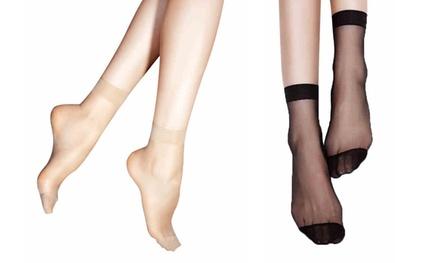 1 of 2 sets van 10 ultra fijne en transparante sokken